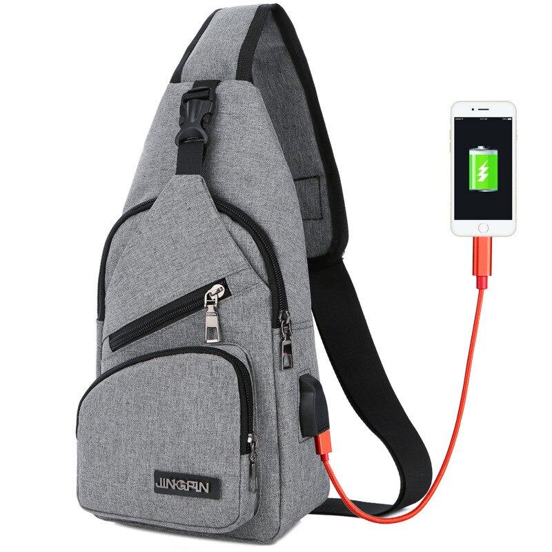 2018 New Arrival Male Shoulder Bags USB Charging Crossbody Bags Men Anti Theft Chest Bag School Summer Short Trip Messengers Bag