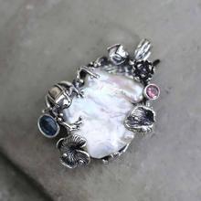 925 Sterling Silber Natürliche Barock Süßwasser Perle Anhänger Große Vintage Baum Zweig Design Elegante Frauen Edlen Schmuck