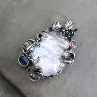 925 Sterling Silver Natural Baroque Freshwater Pearl Pendant Large Vintage Tree Branch Design Elegant Women Fine Jewelry