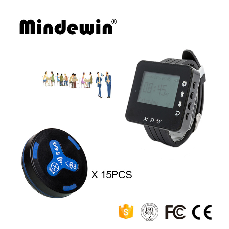Mindewin Restaurant Customer Service System 15PCS Table Call Button M-K-3 and 1PCS Watch Pagers M-W-1 Wireless Calling System wireless service call bell system popular in restaurant ce passed 433 92mhz full equipment watch pager 1 watch 7 call button