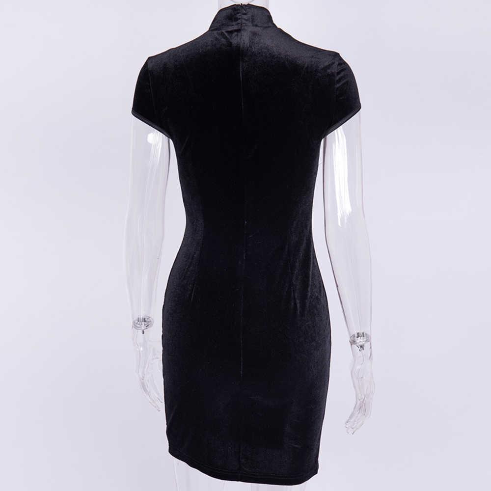 Летнее бархатное платье женское китайское платье Ципао ретро Harajuku 2019 женские сексуальные платья обтягивающее элегантное платье черное плюс размер