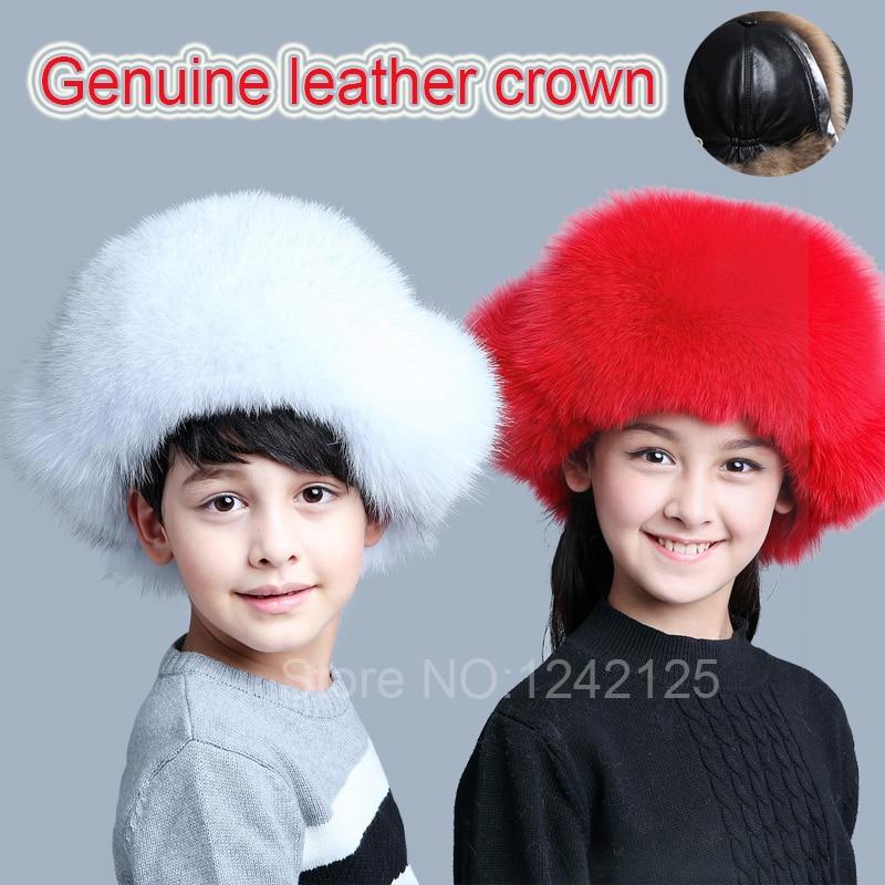 New Russia fur hat Boy Girl baby Children real fox fur Hat Warm ears Earmuff Genuine leather crown top hat outdoor skiing hat