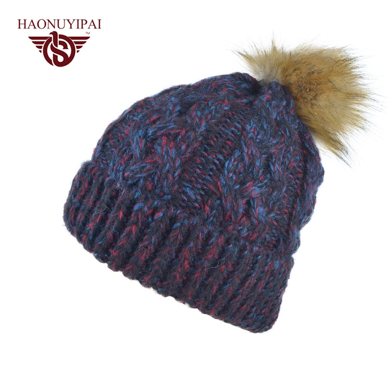 Fashion Women Autum Winter Skullies Beanies Woolen Knitted Hats Adult Casual Warm Caps Mixed Color Cotton Hat 5 Colors  ZM07 skullies