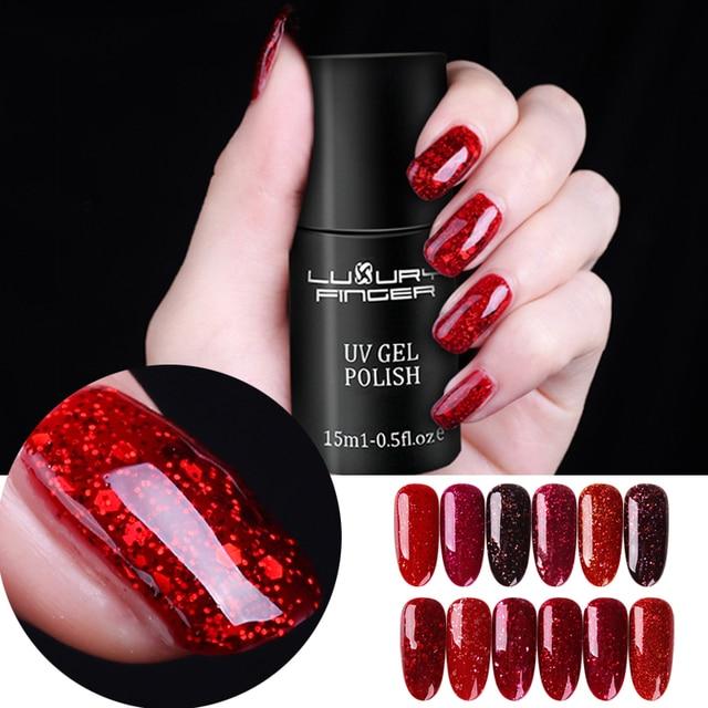 Luxe Vinger 15 ML Bling Platina Pailletten UV Gel Rode Glitter ...