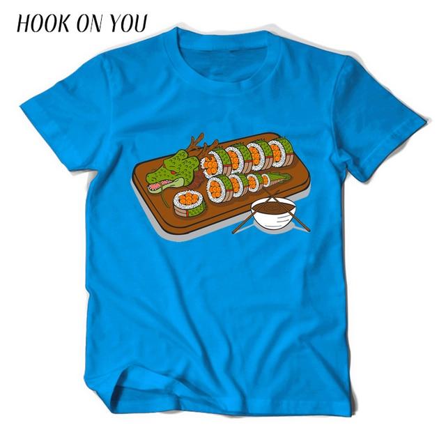 2017 Fashion Brand Men T Shirt Crazy Sushi Dragon Ball Print T-Shirt 100% Cotton Short Sleeve Man Clothing Casual Cool Tops Tees