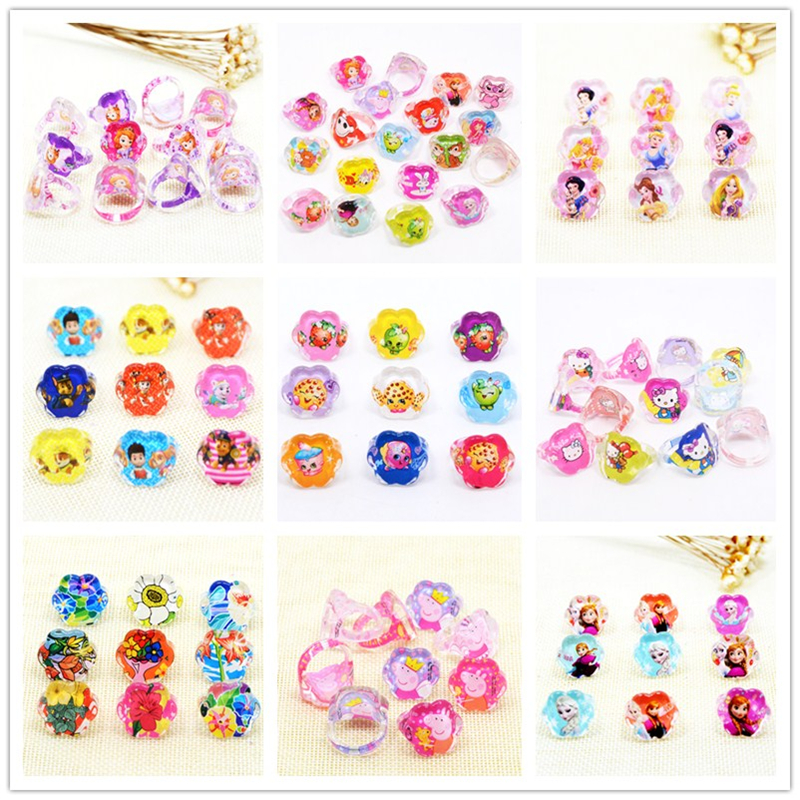 32 kinds Wholesale Jewelry 50Pcs Ariel Cartoon Elsa Paw Girls kids Snow Princess Minnie Sophia Children Flower shape Ring