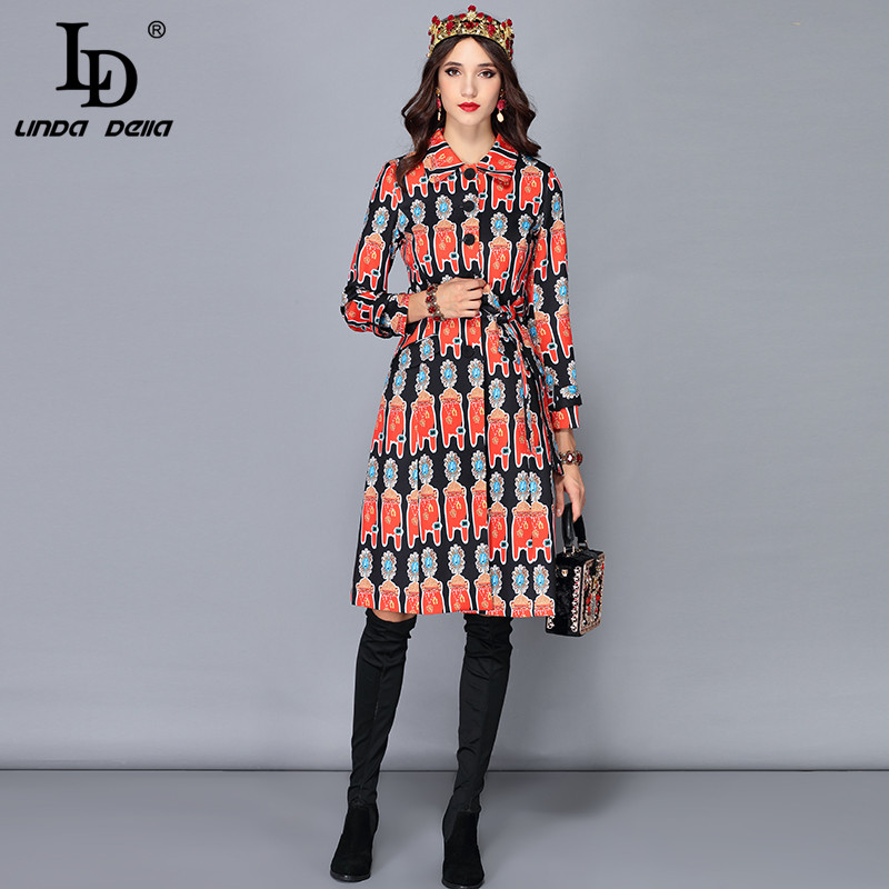 Nouveau Linda Ld Automne Vintage Manteau Imprimé De Ceinturé Femelle Multi Femmes Pardessus Della Chaud Long Vêtements D'extérieur D'hiver fE4q4wHx