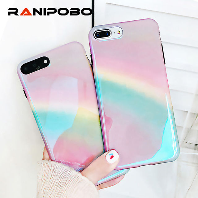 Fashion Blu-Ray Gradient Rainbow Phone Case For iPhone X 6 6S 7 8 Plus  Shiny Purple Glossy Soft IMD Phone Back Cover Cases e1bbef8b8ee2