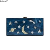 Acrylic Pearl Dark Blue Star Moon Handbag Women Wedding Clutch Lady Party Purse Landscape Pattern Crossbody Messenger Bag