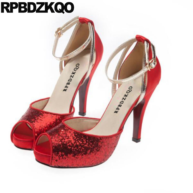 Peep Toe Ankle Strap Bling Silver Gold Wedding High Heels Pumps Big Size  Shoes Stiletto Glitter Women Sandals 2018 Summer Sequin-in High Heels from  Shoes on ... 71bd81dc4496