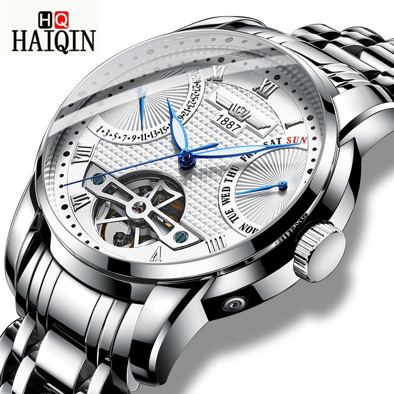 HAIQNI Mens Watches Watch Men New Top Luxury Fashion Mechanical Watch Stainless Steel Waterproof Sports Clock Relogio MasculinoHAIQNI Mens Watches Watch Men New Top Luxury Fashion Mechanical Watch Stainless Steel Waterproof Sports Clock Relogio Masculino