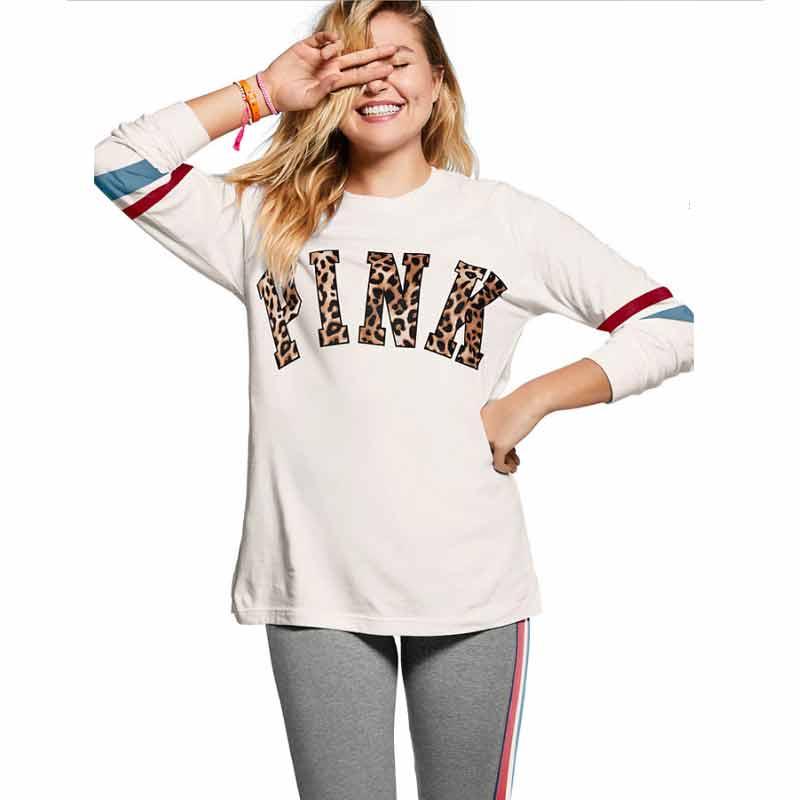 VS Pink Love Secret Women Long Sleeve T Shirt Aesthetic Vegan Vintage Tumblr Feminist Retro Oversized White Cotton Leopard Tops