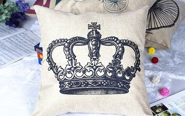 Decorative crowns for home decor cushion cover royal throw pillows cotton  linen pillowcases sofa couch shabby chic canvas 15pcs 93cad9ec7986