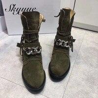 SKYYUE/черные женские ботильоны гладиаторы из натуральной кожи с металлическим украшением, женские ботинки на шнуровке с круглым носком, Брен
