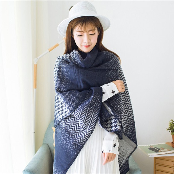 2017 Fall Winter Fashion Plaid Scarf For Women Houndstooth Gradient Shawl Faux Cashmere Cape Wrap Poncho