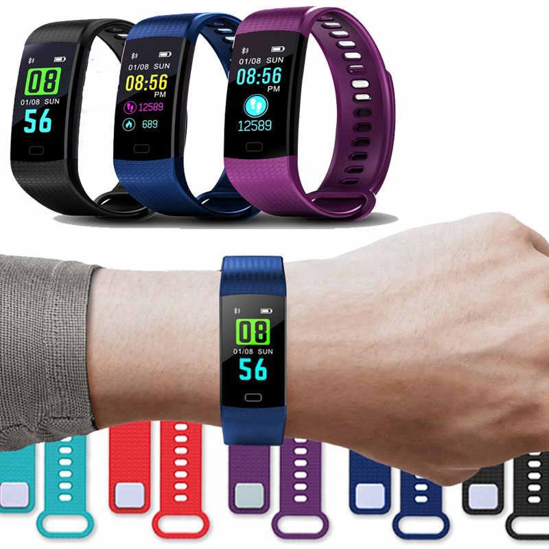 Bluetooth スマートブレスレットカラー画面 Y5 Smartband 心拍数モニター血圧測定フィットネストラッカースマートウォッチの男性