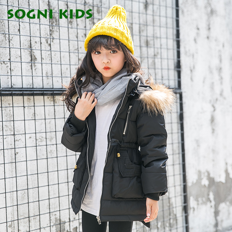 4-10 Years Girls Down Duck Coats Parkas 2017 Fashion Thicken Down Jackets Super Warm Solid Real Fur Hooded Winter Kids Clothes 2017 kids jacket winter for girl and coats duck down girls fluffy fur hooded jackets waterproof outwear parkas coat windproof