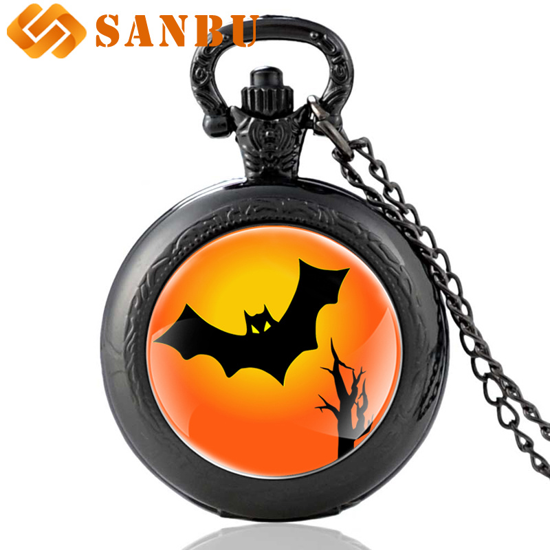 Classic Halloween Bat Black Quartz Pocket Watch Vintage Men Women Pendant Necklace Gifts