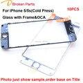 Original 3 em 1 imprensa fria Frente Lens Outer Touch Screen oca filme de vidro com moldura para iphone 5 5s reparação substituição