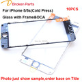 Original 3 in 1 cold press Front Outer Lens Touch Screen Glass With Frame OCA film For iphone 5 5s repair Replacement