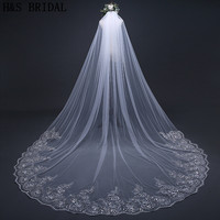 H S BRIDAL Ivory White Lace Wedding Veil One Layer Veil Veu De Noiva Longo 3M