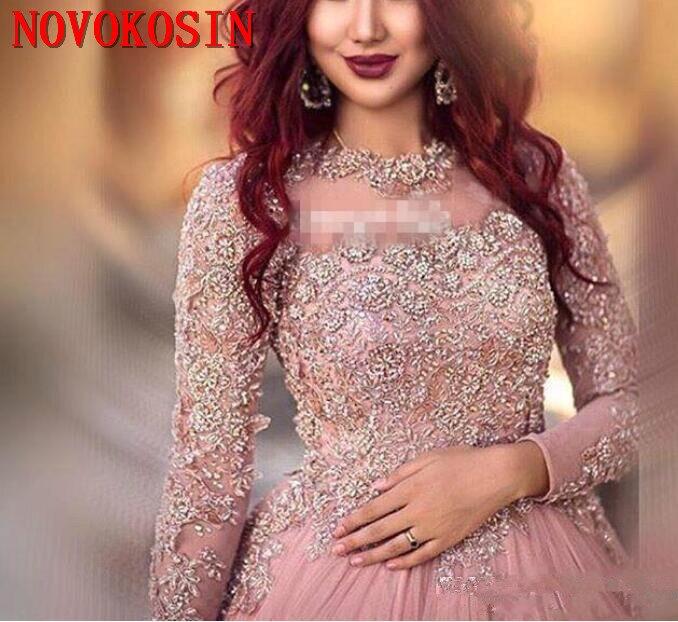 2019 a-ligne manches longues robes de soirée princesse robes musulmanes avec paillettes perlées Court Train tapis rouge robe de piste