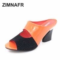 2016 New Women Sandals Slippers Genuine Leather Rhinestone Thick High Heeled Color Block Decoration Open Toe