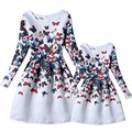 New mother and daughter dress 2016 matching mother daughter clothes butterfly printed party matching outfits mom and girl dress