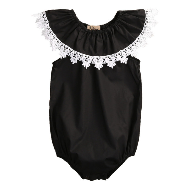 f121da9aa07f3 US $3.72 11% OFF|Cute Newborn Baby Girl Kids Sleeveless Lace Romper Lotus  collar Jumpsuit Cotton Sunsuit Outfits-in Rompers from Mother & Kids on ...