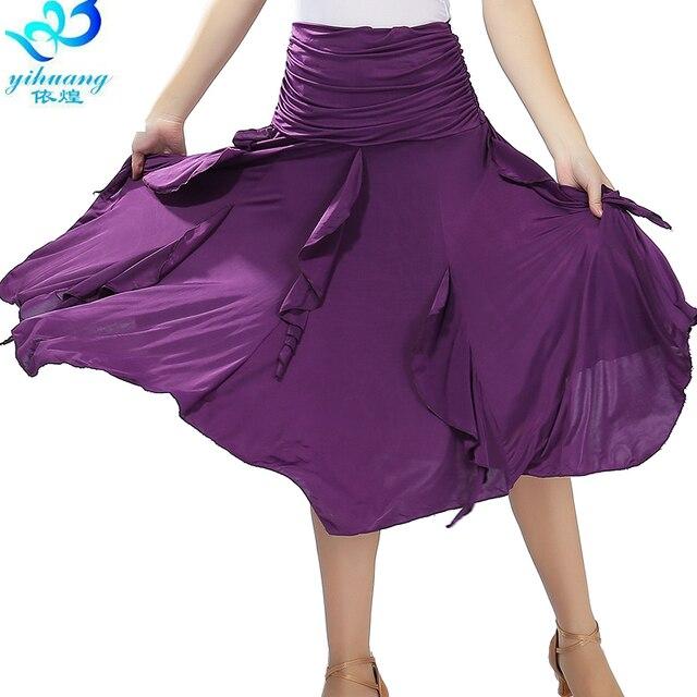 Free Shipping Ballroom Waltz Dance Skirts Modern Standard Tango Salsa Samba Rumba Practice Costumes Elastic Waistband #2547