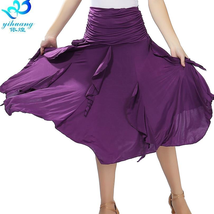 Ladies Modern Standard Ballroom Waltz Dance Costume Skirt Long Tango Salsa Samba Rumba Practice Elastic Waistband#2547