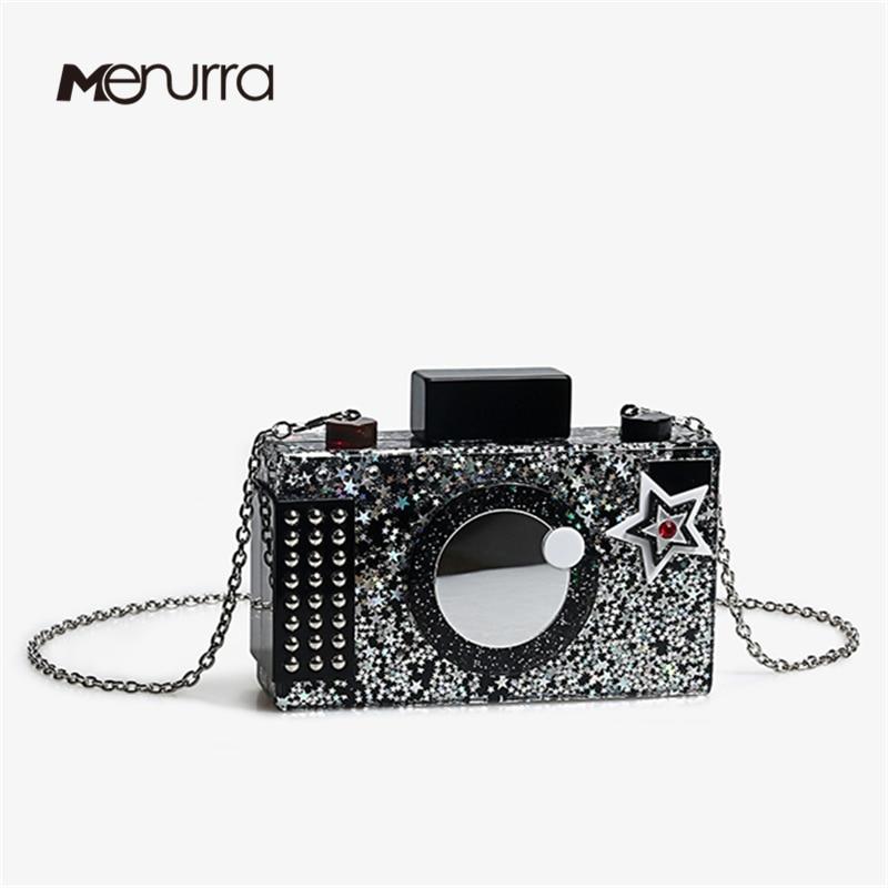 Purse Party Acrylic-Shoulder-Bag Camera-Shape Messenger-Bag Clutch Wedding Fashion Ladies
