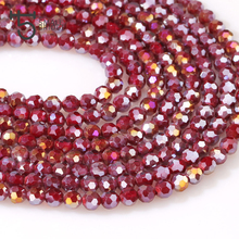 6mm Red Porcelain Glass Beads Faceted Round Ball Cz Crystal Beads Charm Miyuki Loose Beads Crafting for Jewelry Making Z174