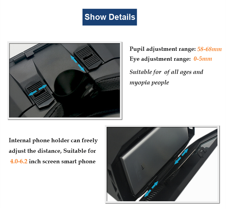 iDOCOU VR 3D Glasses Headsets VR Box Adjustable Pupil and Object Distance for Myopia people FOV 96 Anti Blue PMMA Lens 4