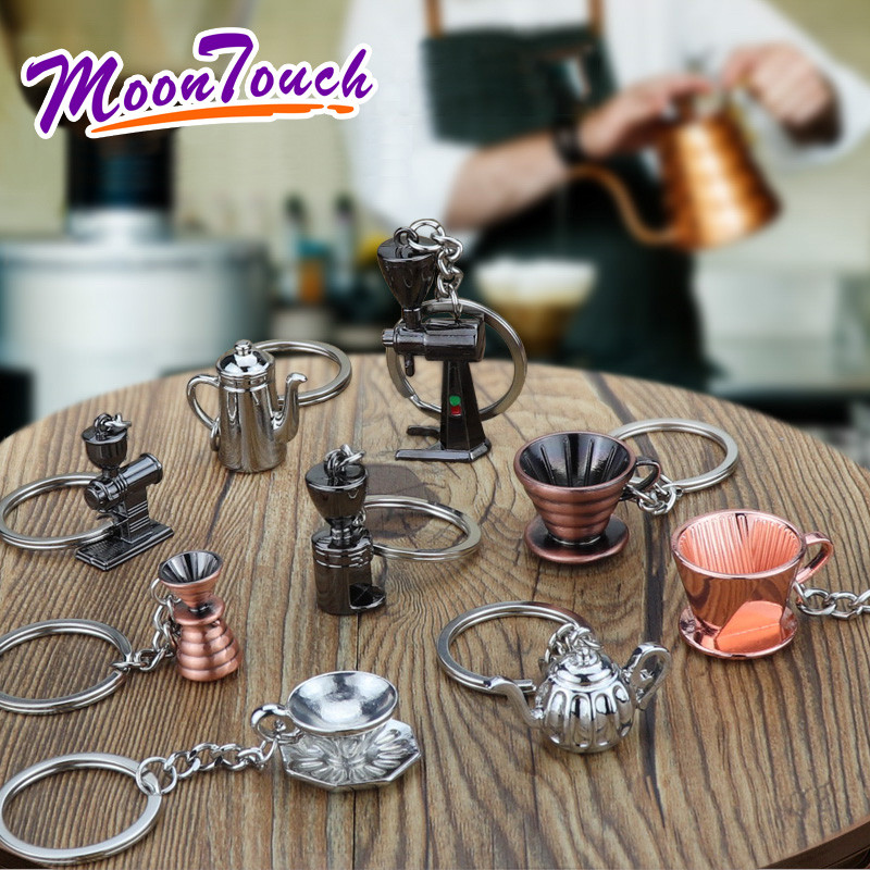 Couple Espresso Coffee Keychain Accessories Mini Coffee Tamper Beautiful Coffee Keyring Cafe Gift for Coffee Lovers Keychain