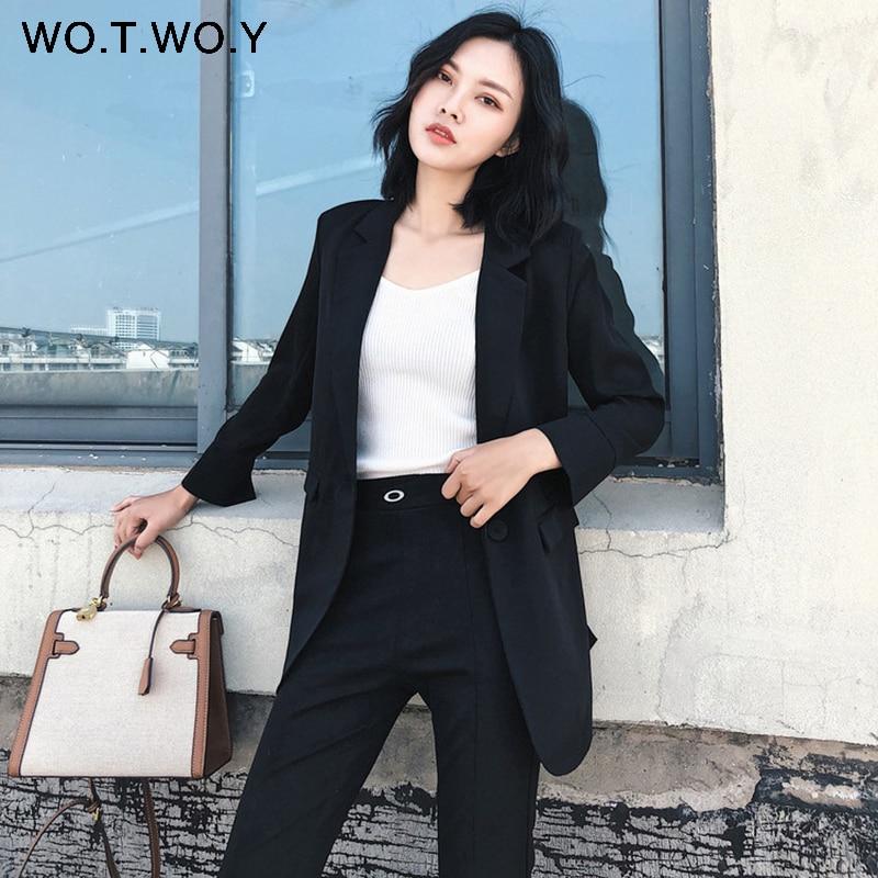 Elegant Notched Work Blazer Feminino