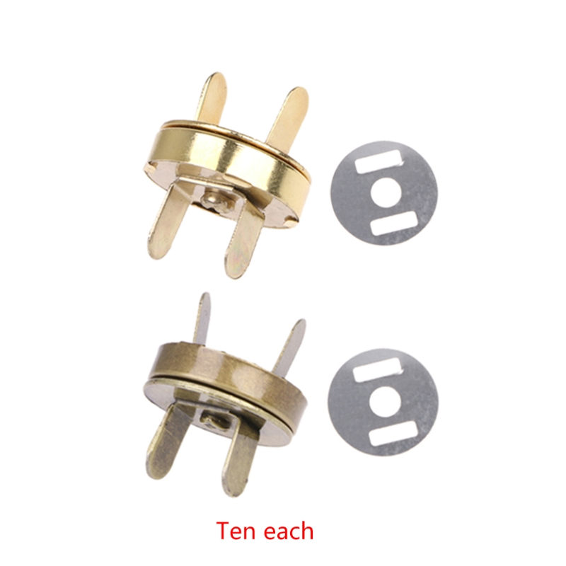 THINKTHENDO 10x Magnetic Snap Buckle For DIY Clasps Closure Handbag Purse Bags Accessories