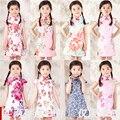 Regalo de pascua Cheongsams Verano Nuevo Estilo Para Las Niñas Vestido De Chino Para Niños juego de La Espiga Niña Vestidos de Princesa Ropa