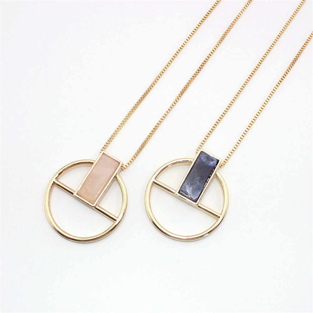 XQ 2016 free shipping The new fashion Circular pendant necklace Natural stone rectangle personality necklace