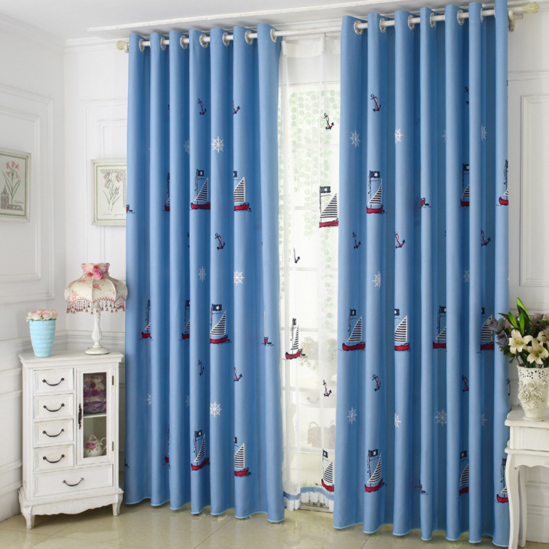 Nordic Sailboat Cartoon Children's Room Shade Silk Velvet Embroidery Shade Curtains For Living Dining Room Bedroom.