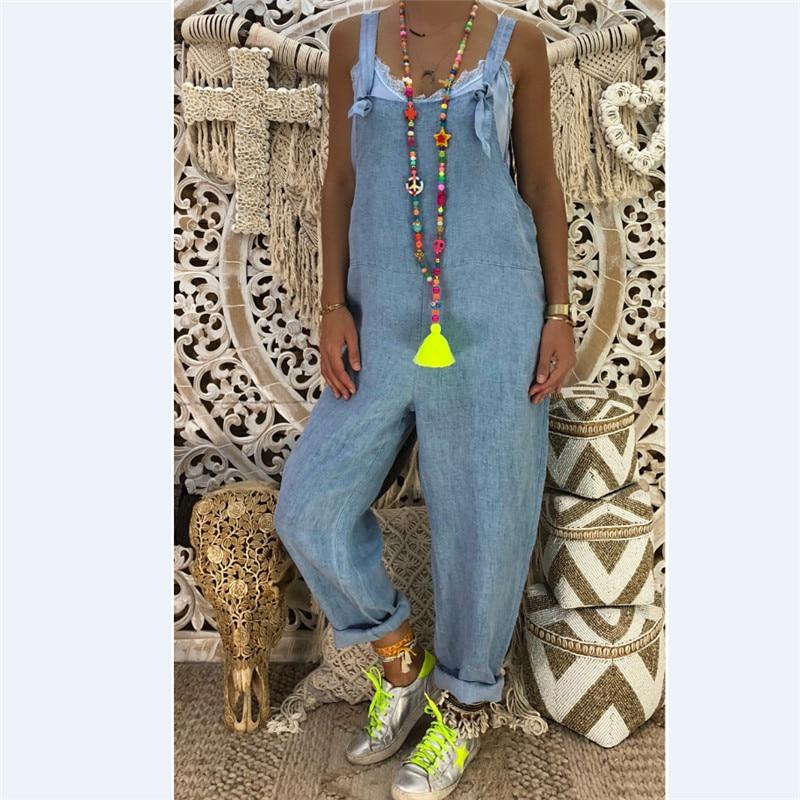 Plus Size  S-2XL New Women's Casual Loose Denim  Lady's Solid Colors Baggy Jeans Wide Leg Jumpsuit Pants