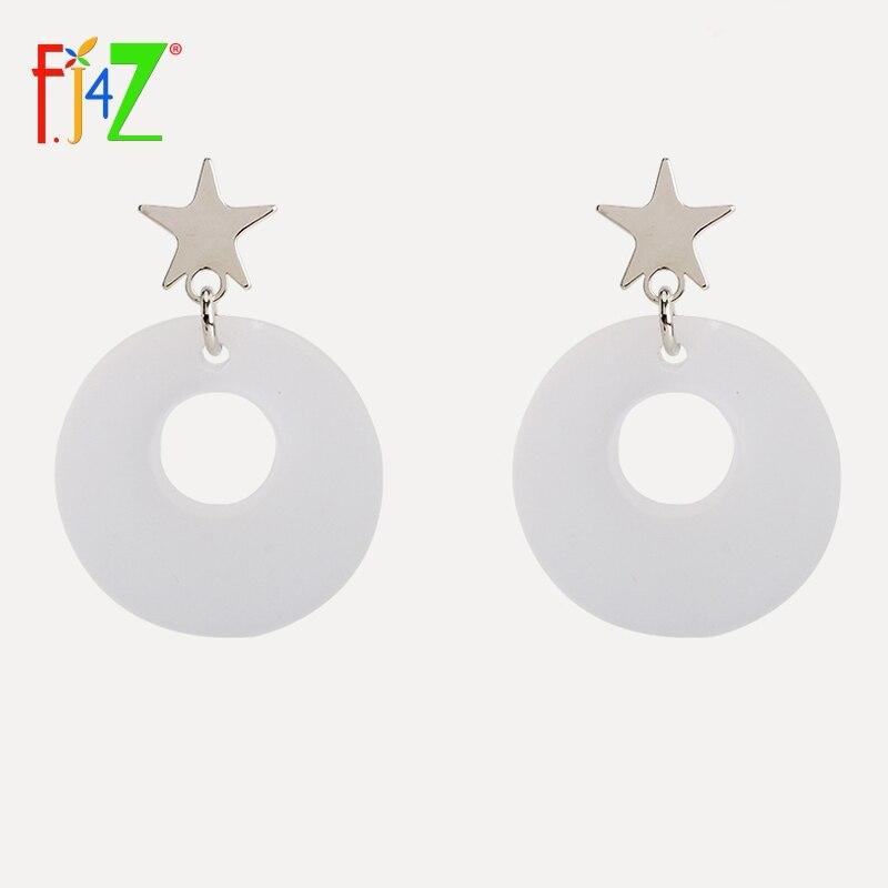 F.J4Z New arrival Fashion girls party show Earrings S925 stud acylic circle star pendant dangle Earrings for Women