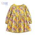 2016 primavera vestido da menina completa flor de impressão meninas roupas de manga comprida vestido de princesa para meninas crianças vestido de princesa outwear 2-8year