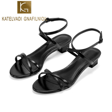 KATELVADI 2019 Black PU Women Sandals Hot Sale Fashion Summer Sweet 3CM Heel Ladies Shoes K-405
