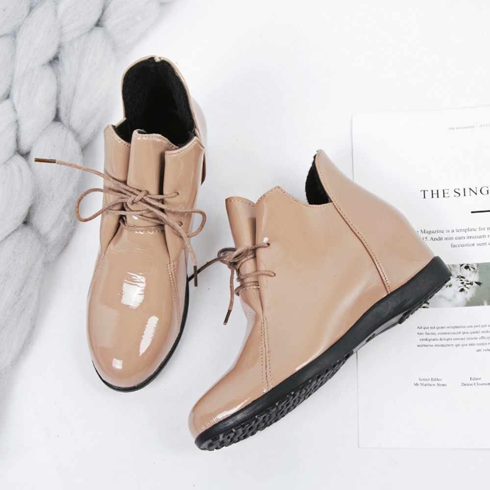 Winter boots women Plus Velvet Heightening Non-slip Martin s patent Leather  Shoes botas mujer db557a6cbf3f