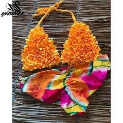 d0068c13a Biquini brasileiro Mujer Tow Pieces Bikini Set 2019 Sexy Swimwear Swimsuit  Mulheres Halter Fatos de Banho