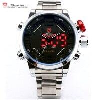 SHARK Stainless Full Steel Black Dial Japan Movement Digital LED Date Day Alarm Quartz Military Wrist