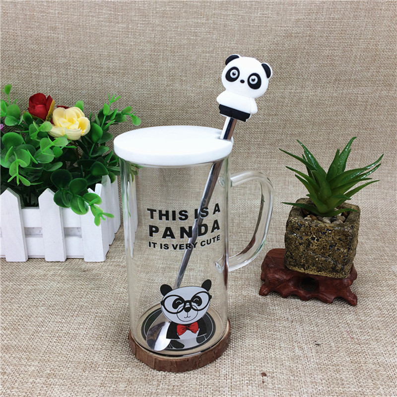 Cute Panda Cup with spoon Glass Cups with Lid Portable warter bottle with handle Transparent Drinkware Best Lovers Gift