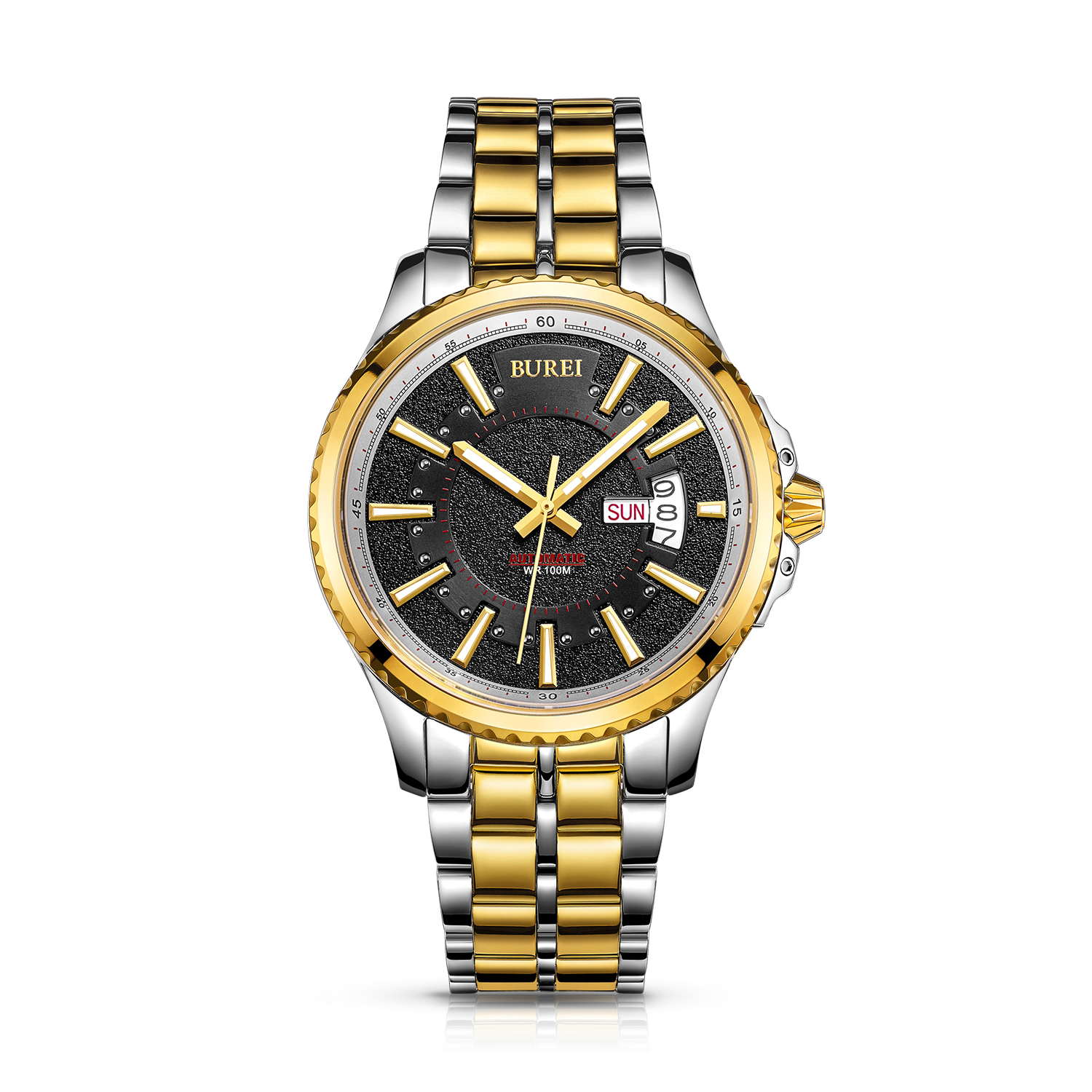 BUREI 15010 Switzerland watches men luxury brand Men's Day and Date Automatic Watch with Gold Dial Stainless Steel Band