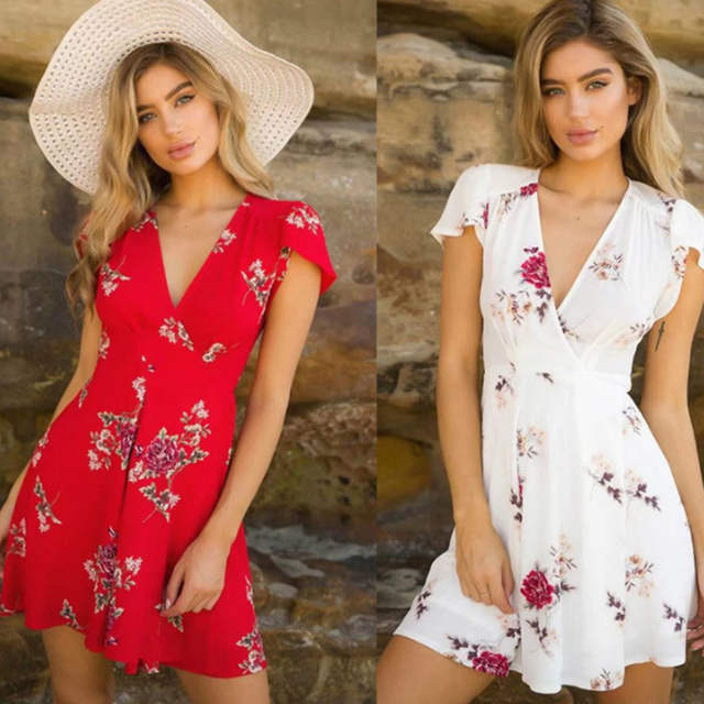 f6332d3e353f8 US $2.99 50% OFF|AVODOVAMA M Women Summer Dress 2018 Sexy Mini Boho Beach  Vintage Sundress Floral Print V Neck Short Sleeve Dress-in Dresses from ...